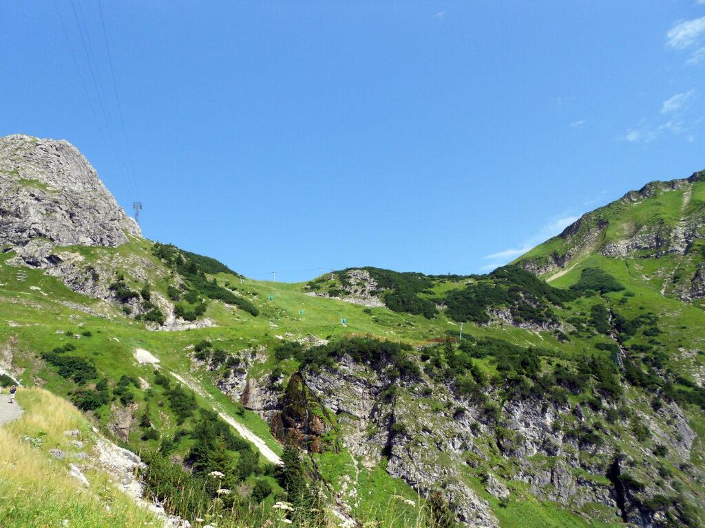 Blick hoch zum Nebelhorn